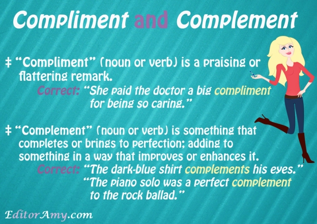 Editor Amy--compliment-complement